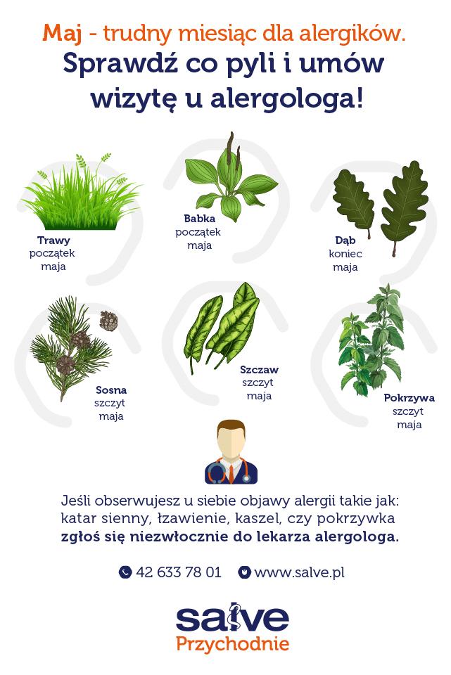 grafika kalendarz dla alergików – jakie rośliny pylą wmaju
