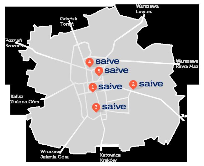 Mapa przychodzni Salve Łódź